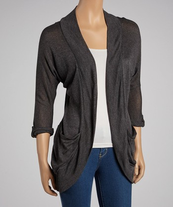 Charcoal Three-Quarter Sleeve Open Cardigan