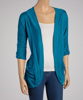 Blue Roll-Tab Sleve Open Cardigan