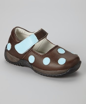 Brown & Blue Polka Dot Mary Jane