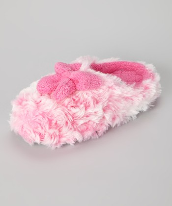 Pink Bow Faux Fur Slipper