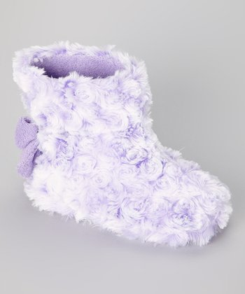 Purple Minky Swirl Slipper Boot