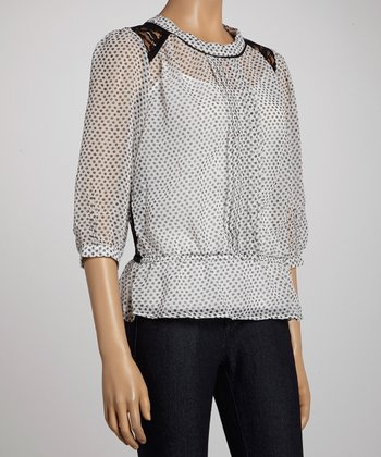 White Polka Dot Lace-Back Top