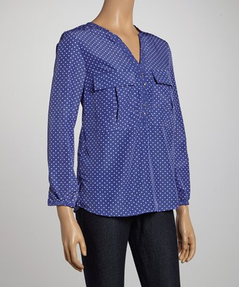 Lavender Polka Dot V-Neck Top