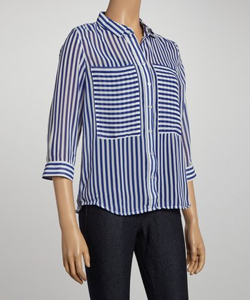 Cobalt Stripe Sheer Button-Up