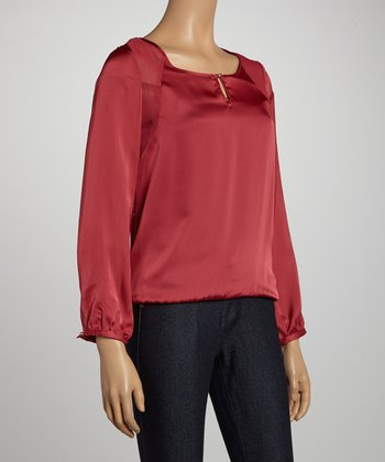 Dark Rose Keyhole Scoop Neck Top