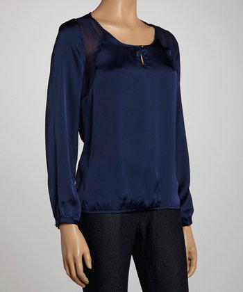 Indigo Keyhole Scoop Neck Top