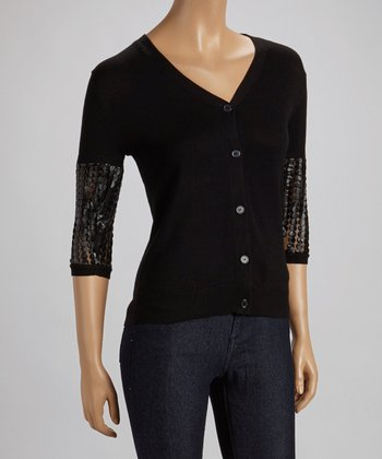 Black Embellished Sleeve Cardigan