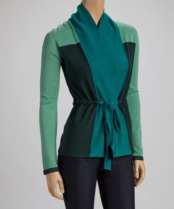 Green & Black Color Block Wrap Cardigan