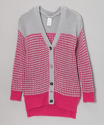 Dark Pink Stripe Cardigan - Girls