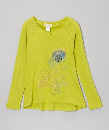 Lime Feather Henley - Toddler & Girls