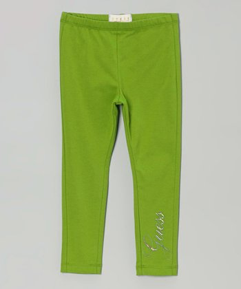 Lime Beaded 'Guess' Leggings - Toddler & Girls