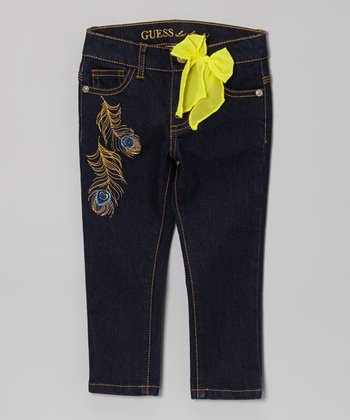 Medium Stone Wash Feather Jeans - Toddler & Girls