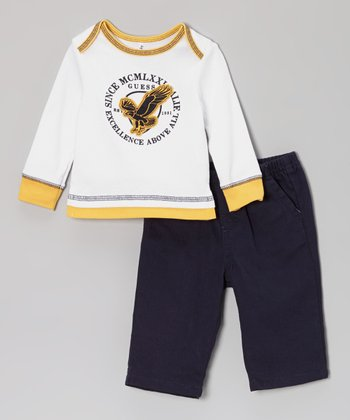 White Eagle Top & Black Pants - Infant