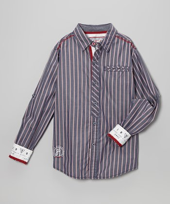 Gray & Pink Stripe Reactor Button-Up - Toddler & Boys