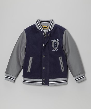 Gray & Navy Varsity Jacket - Infant, Toddler & Boys