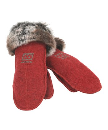 Red Faux Fur Wool-Blend Mittens - Women