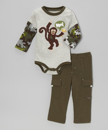 Gray Monkey Layered Bodysuit & Pants - Infant