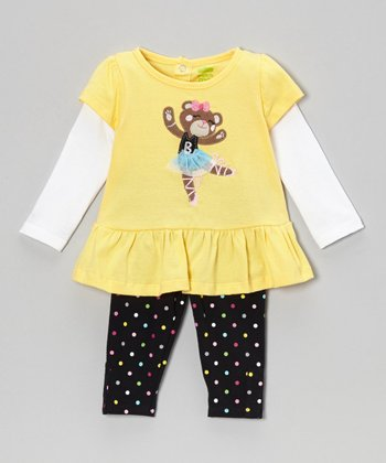 Yellow Teddy Layered Tunic & Polka Dot Pants - Infant & Toddler