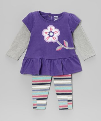 Purple Blossom Layered Tunic & Stripe Leggings - Infant & Toddler