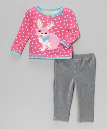 Pink Polka Dot Bunny Top & Corduroy Pants - Infant & Toddler