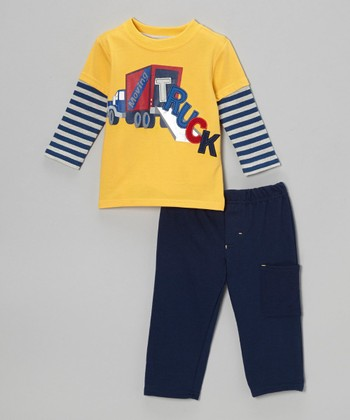 Yellow 'Truck' Layered Tee & Navy Pants - Infant