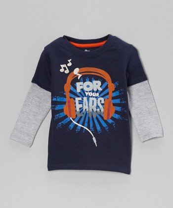 Navy 'For Your Ears' Headphones Layered Tee - Infant & Toddler