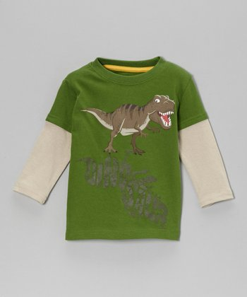 Green 'Dinosaur' Layered Tee - Toddler