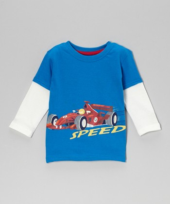 Blue 'Speed' Racecar Layered Tee - Infant & Toddler
