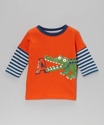 Orange 'A' Alligator Layered Tee - Infant & Toddler