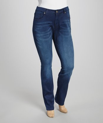 Dark Blue Distressed Skinny Jeans - Plus