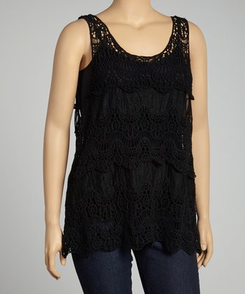Black Crocheted Tank - Plus