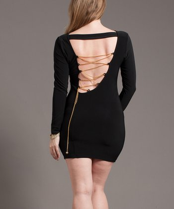 Black Chain Back Long-Sleeve Dress - Plus