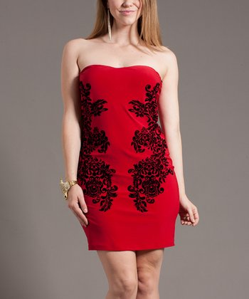Red Embellished Strapless Dress - Plus