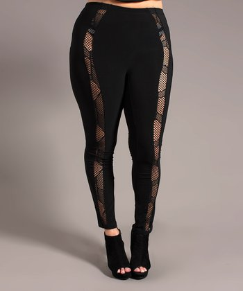 Black Mesh Peekaboo Leggings - Plus