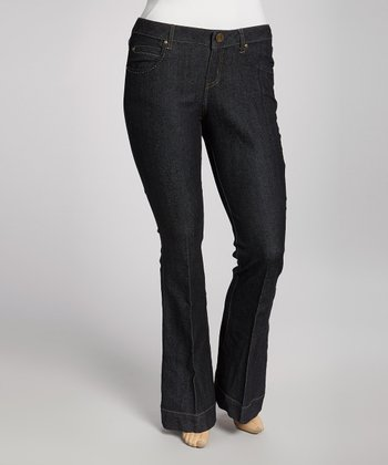 Dark Rinse Pleated Flare Jeans - Plus