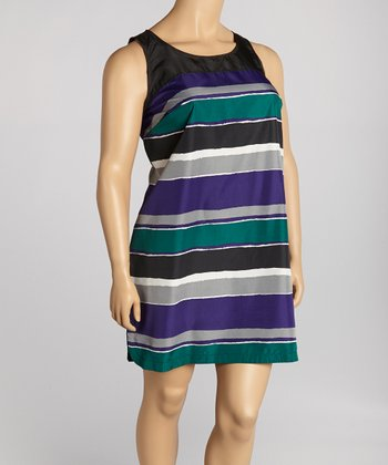 Purple Stripe Crepe Sleeveless Dress - Plus