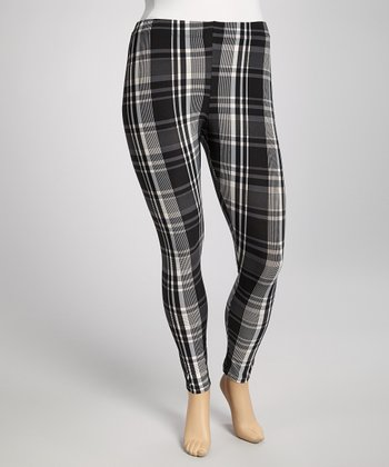 Black & Charcoal Plaid Leggings - Plus