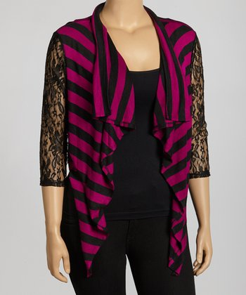 Black & Magenta Stripe Lace Sidetail Open Cardigan - Plus