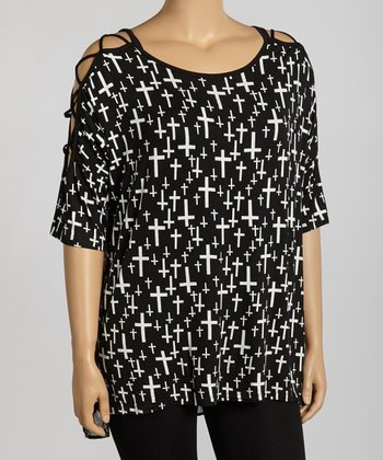 Black & White Cross Cutout Top - Plus