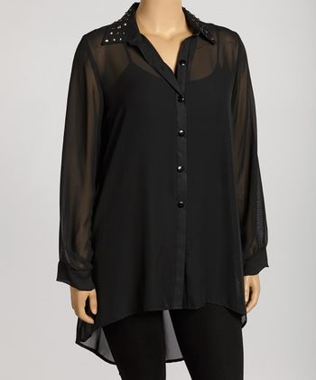 Black Studded Hi-Low Button-Up Tunic - Plus