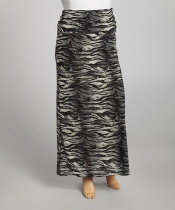 Charcoal Zebra Maxi Skirt - Plus