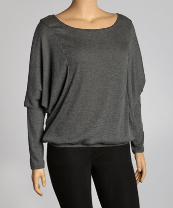 Charcoal Ribbed Dolman Top - Plus