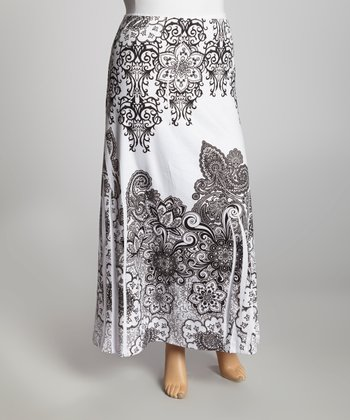 White Paisley Sublimation Maxi Skirt - Plus