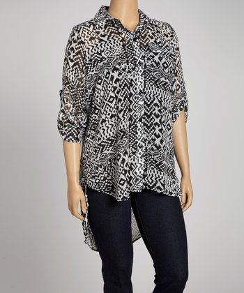White & Black Tribal Button-Up - Plus