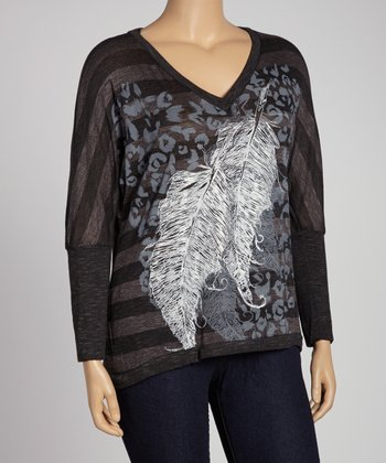 Black & Gray Feathers Stripe Dolman Top - Plus