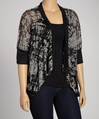 Black Burnout Open Cardigan - Plus