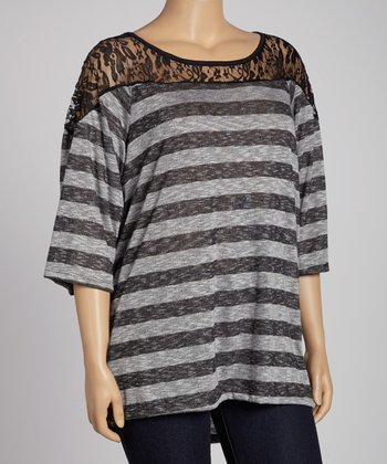 Gray Stripe Lace Yoke Dolman Top - Plus