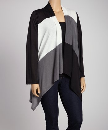 Ivory & Charcoal Color Block Open Cardigan - Plus
