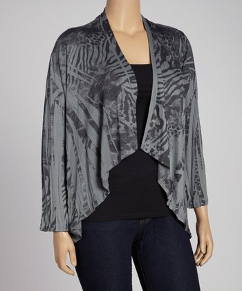 Charcoal Animal Sublimation Open Cardigan - Plus