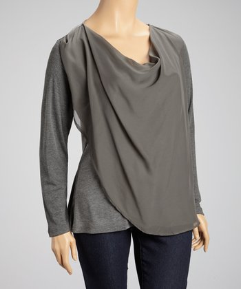 Charcoal Chiffon Long-Sleeve Top - Plus